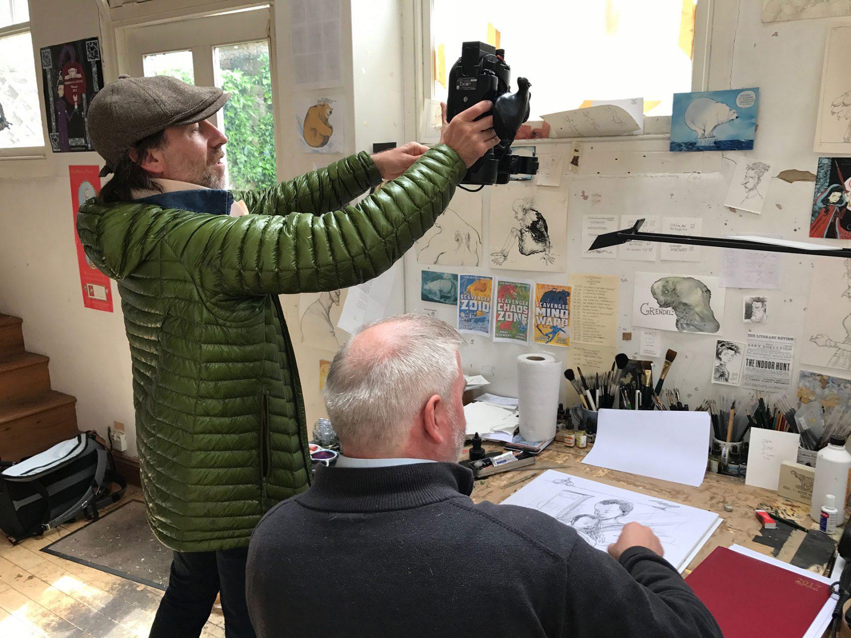 David Carter from Fieldcraft Studios rigging Chris Riddell's Brighton Studio