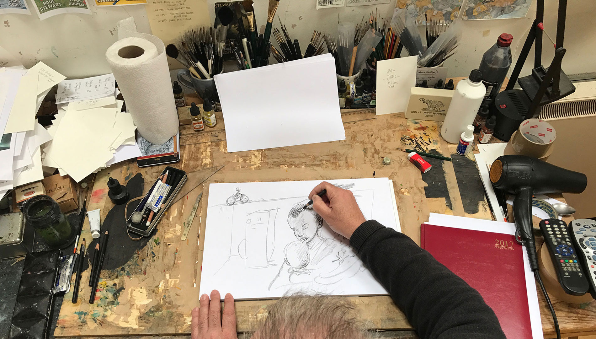 Chris Riddell drawing for Fieldcraft Studios VSO campaign