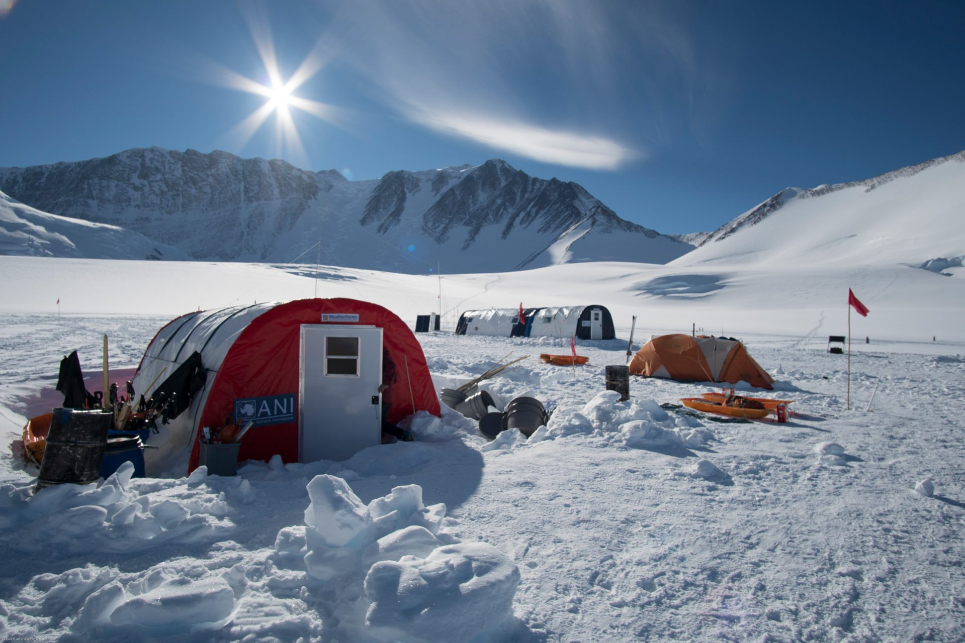 Base camp in Antarctica, Fieldcraft Studios filming with Ranulph Fiennes.